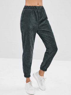 Pantalon De Jogging En Velours Côtelé Avec Poche - Vert Foncé Xl