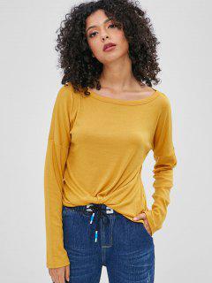 Caer Hombro Manga Larga Camiseta - Amarilla De Abeja  Xl