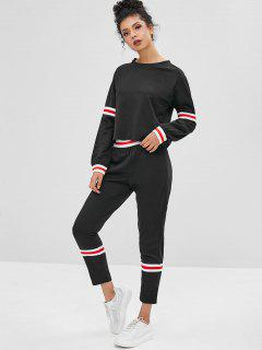 Striped Sweatshirt And Pants Two Piece Set - Black Xl