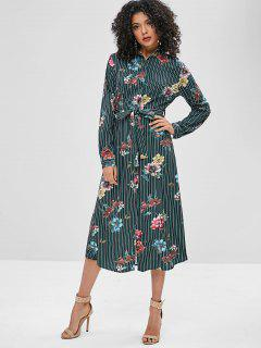 Floral Striped Print Midi Shirt Dress - Multi-a M