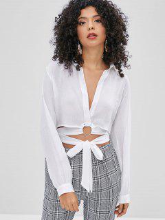 O-ring Tie Plunge Blouse - White M