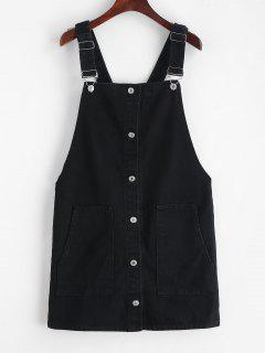 Corduroy Button Front Overall Dress - Black S