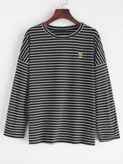 Slit Striped Smile Embroidered Tee - Black M