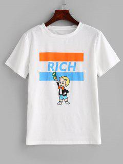 Letter Graphic Short Sleeve T-shirt - White Xl