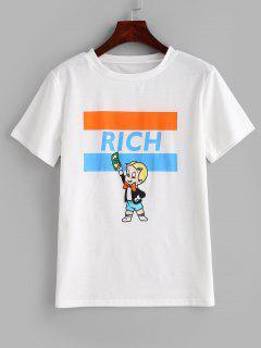 Camiseta De Manga Corta Con Gráfico Gráfico. - Blanco M
