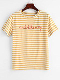 Camiseta De Manga Corta A Rayas - Amarillo L