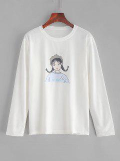 Camiseta Estampada De Niña De Manga Larga - Blanco 2xl