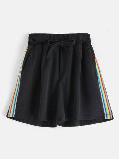 Colorful Striped Drawstring Shorts - Black M