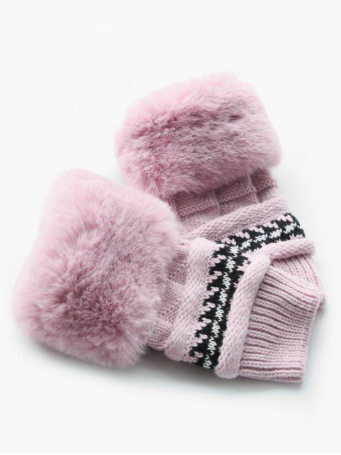 outfits Stylish Fuzzy Knitted Mitten Gloves - PINK  Mobile