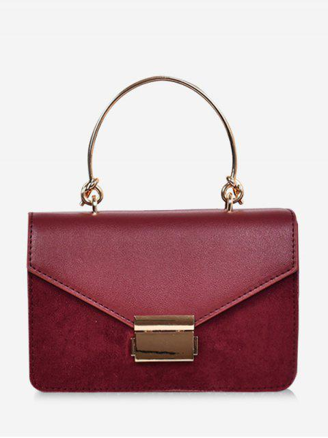 best Contrast Color Top Handle Crossbody Bag - RED  Mobile
