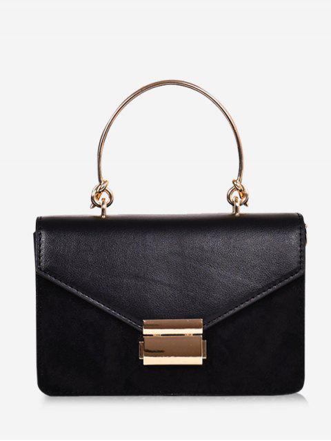fashion Contrast Color Top Handle Crossbody Bag - BLACK  Mobile