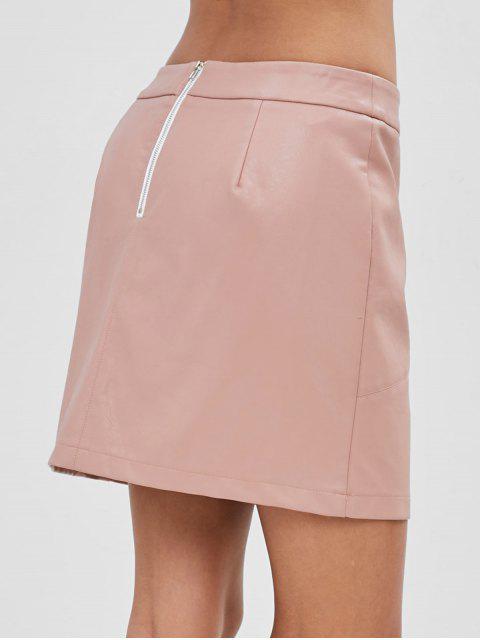 ZAFUL Zip Mini Jupe en cuir synthétique - Rose  XL Mobile