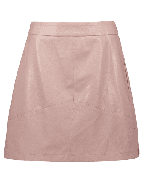 fancy ZAFUL Zip Mini Faux Leather Skirt - PINK M Mobile