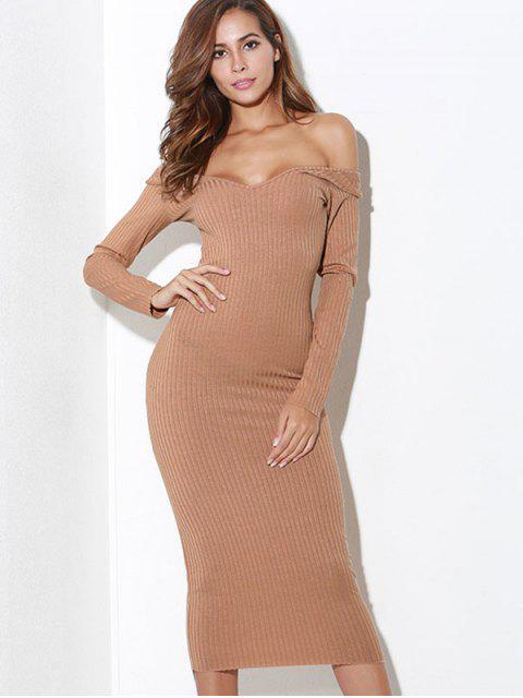hot Off Shoulder Long Sleeves Knit Dress - CAMEL BROWN L Mobile