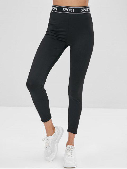 shop ZAFUL Letter Patched High Waist Leggings - BLACK M Mobile