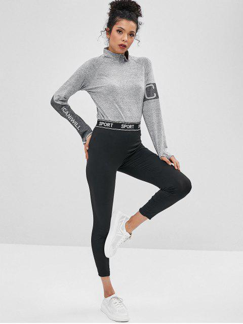 sale ZAFUL Letter Patched High Waist Leggings - BLACK S Mobile