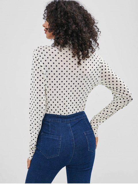 ladies ZAFUL Polka Dot High Cut Bodysuit - BEIGE L Mobile