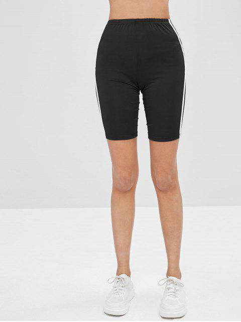 new ZAFUL Side Striped Bike Shorts - BLACK S Mobile