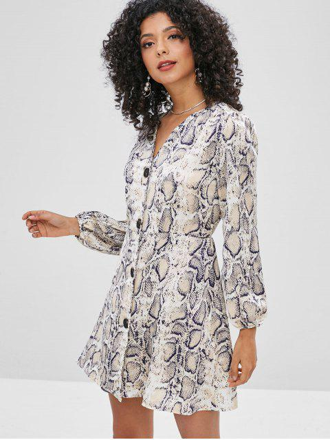 buy Snake Print Button Through Mini Dress - MULTI XL Mobile