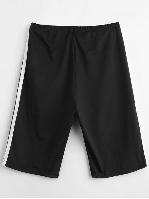 outfits ZAFUL Side Striped Bike Shorts - BLACK XL Mobile
