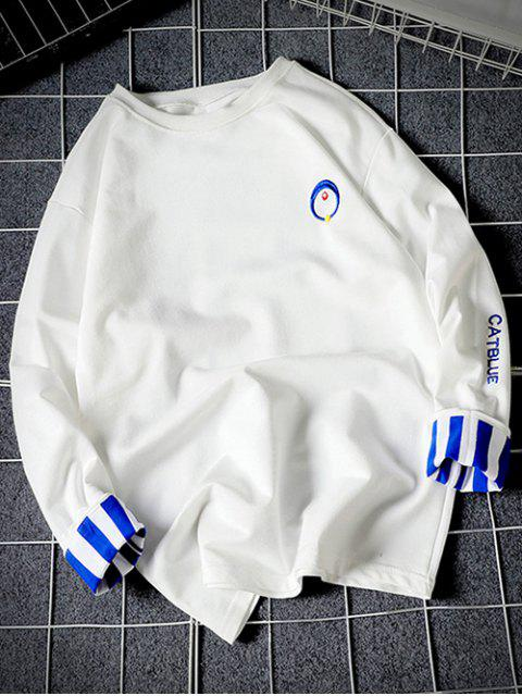 affordable Stripes Long Sleeves Embroidery Crew Neck Sweatshirt - WHITE S Mobile