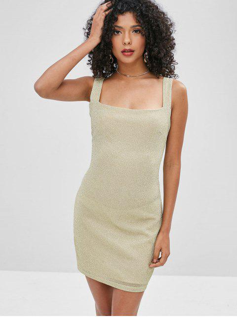 shop Square Neck Glitter Mini Fitted Dress - GOLD S Mobile