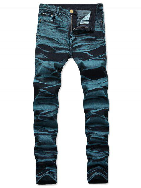 hot Long Straight Zipper Fly Jeans - PEACOCK BLUE 40 Mobile