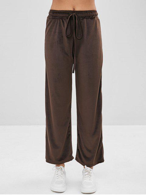 lady Velvet Drawstring Waist Pants - DEEP BROWN ONE SIZE Mobile
