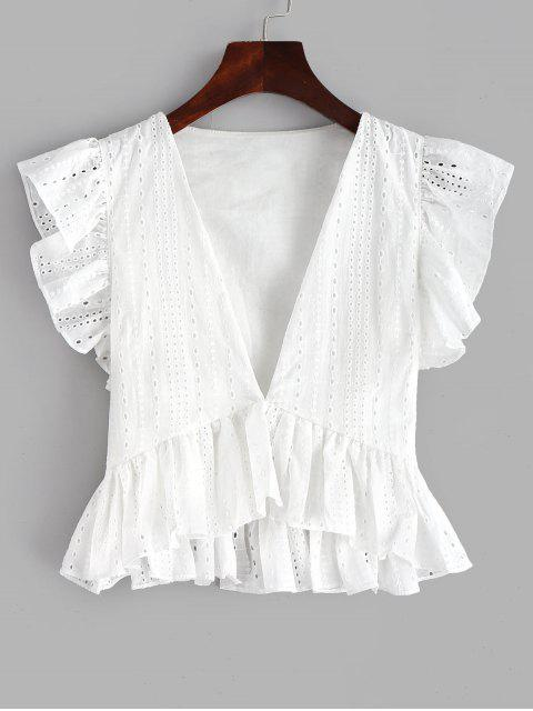 womens Eyelet Ruffle Plunging Blouse - WHITE S Mobile