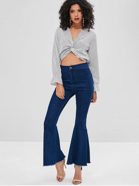 ladies Striped Twist Crop Top - WHITE XL Mobile