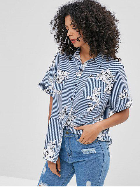 fashion Raglan Sleeve Striped Flower Blouse - MULTI-A M Mobile