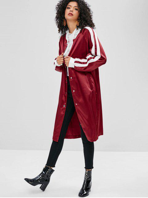 affordable Striped Snap Closure Shiny Bomber Coat - RED WINE M Mobile