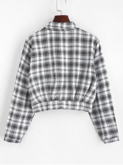 best Plaid Cropped Shirt - MULTI M Mobile