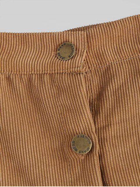 outfits Button Front Corduroy A Line Mini Skirt - CAMEL BROWN XL Mobile