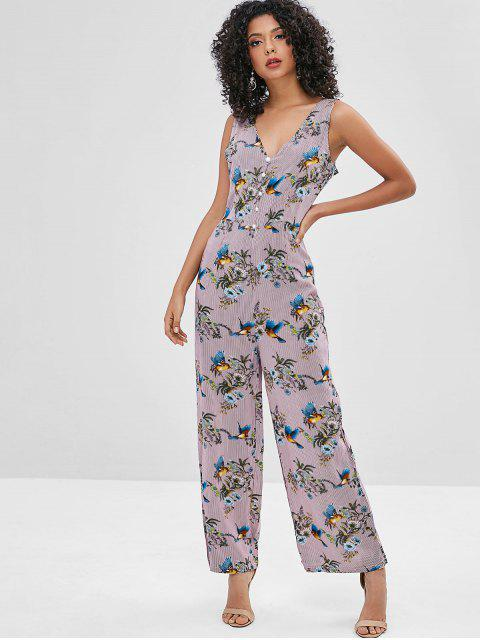 chic Floral Striped Plunging Backless Jumpsuit - MULTI-A S Mobile