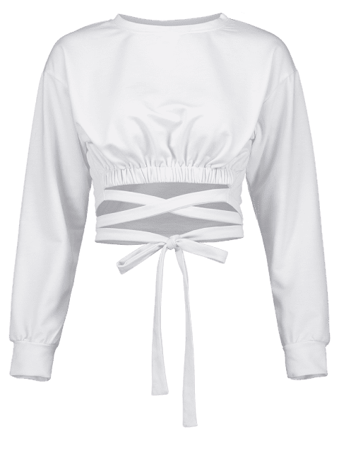 sale Tie Cropped Sweatshirt - WHITE L Mobile