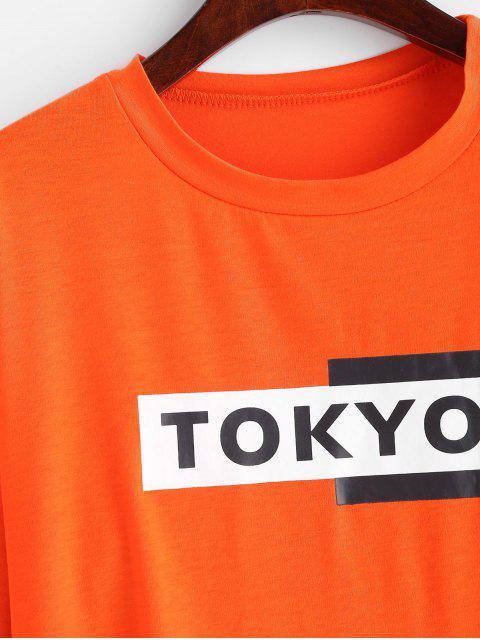 Sweat-shirt Lettre Graphique à Goutte Epaule - Orange S Mobile