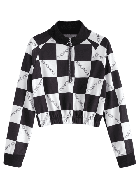 women Checkerboard Graphic Cropped Sweatshirt - MULTI XL Mobile