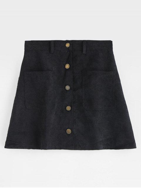 ladies Pockets Button Up Corduroy Mini Skirt - BLACK L Mobile