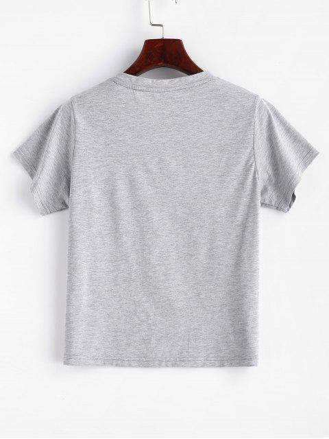 lady ZAFUL Graphic Marl T-Shirt - GRAY CLOUD L Mobile