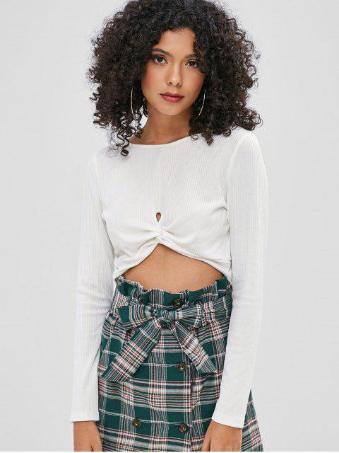 outfits ZAFUL Crop Ribbed Twist Front Tee - WHITE L Mobile