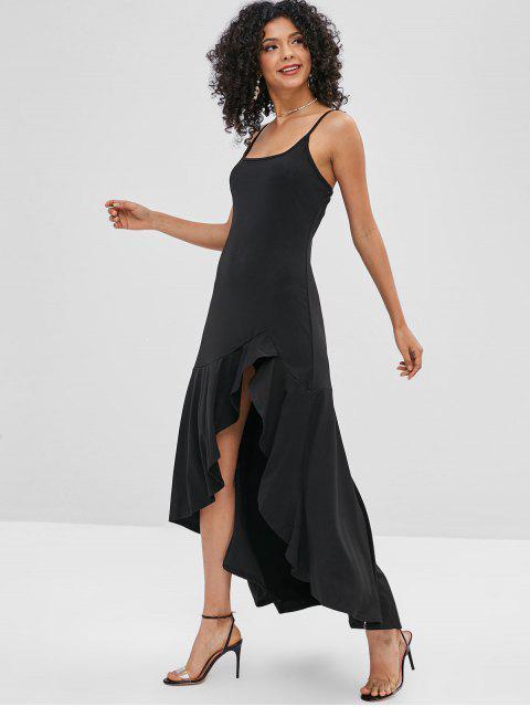 Robe à Bretelle Longue Asymétrique à Volants - Noir L Mobile