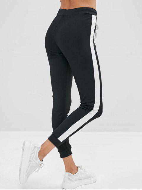 women's Color Block High Waisted Skinny Pants - BLACK L Mobile