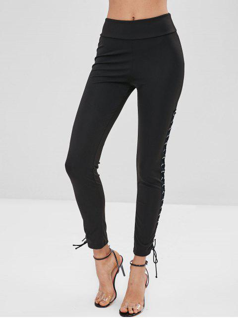outfits Lace Up Skinny Leggings - BLACK M Mobile