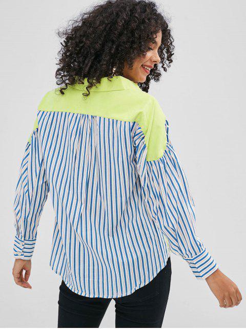 Camisa asimétrica a rayas - Té Verde M Mobile