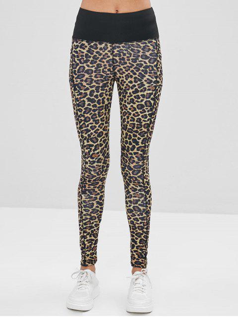 shops Leopard Ruched Pocket Leggings - LEOPARD L Mobile