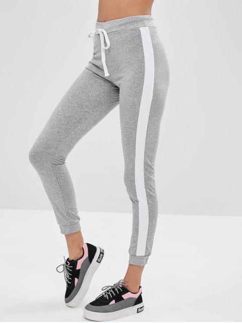Pantalones pitillo de talle alto con bloques de colores - Gris XL Mobile
