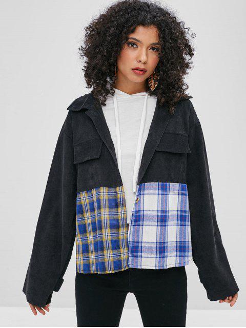 fashion Contrast Plaid Front Corduroy Shirt - BLACK L Mobile