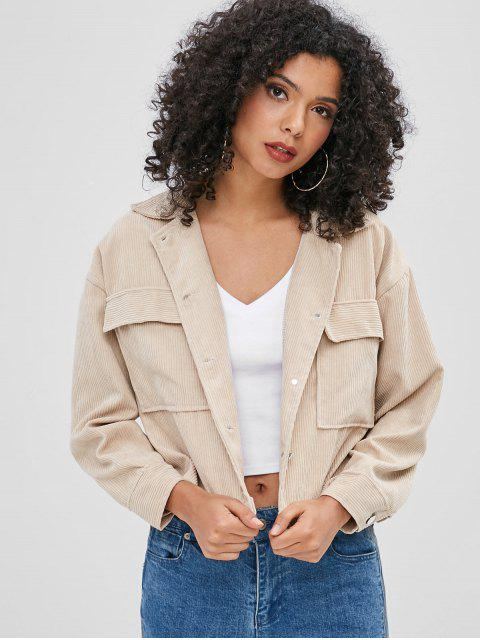 women Patch Pockets Boxy Corduroy Shirt - BLANCHED ALMOND ONE SIZE Mobile