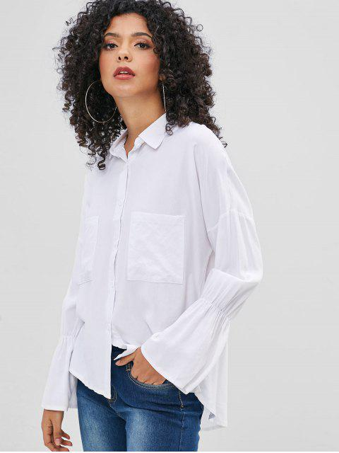 buy Bell Sleeve Pocket High Low Shirt - WHITE XL Mobile